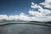 empty observation platform front of mountain range,jiangxi province,China,Asia.