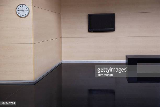 Empty office building lobby
