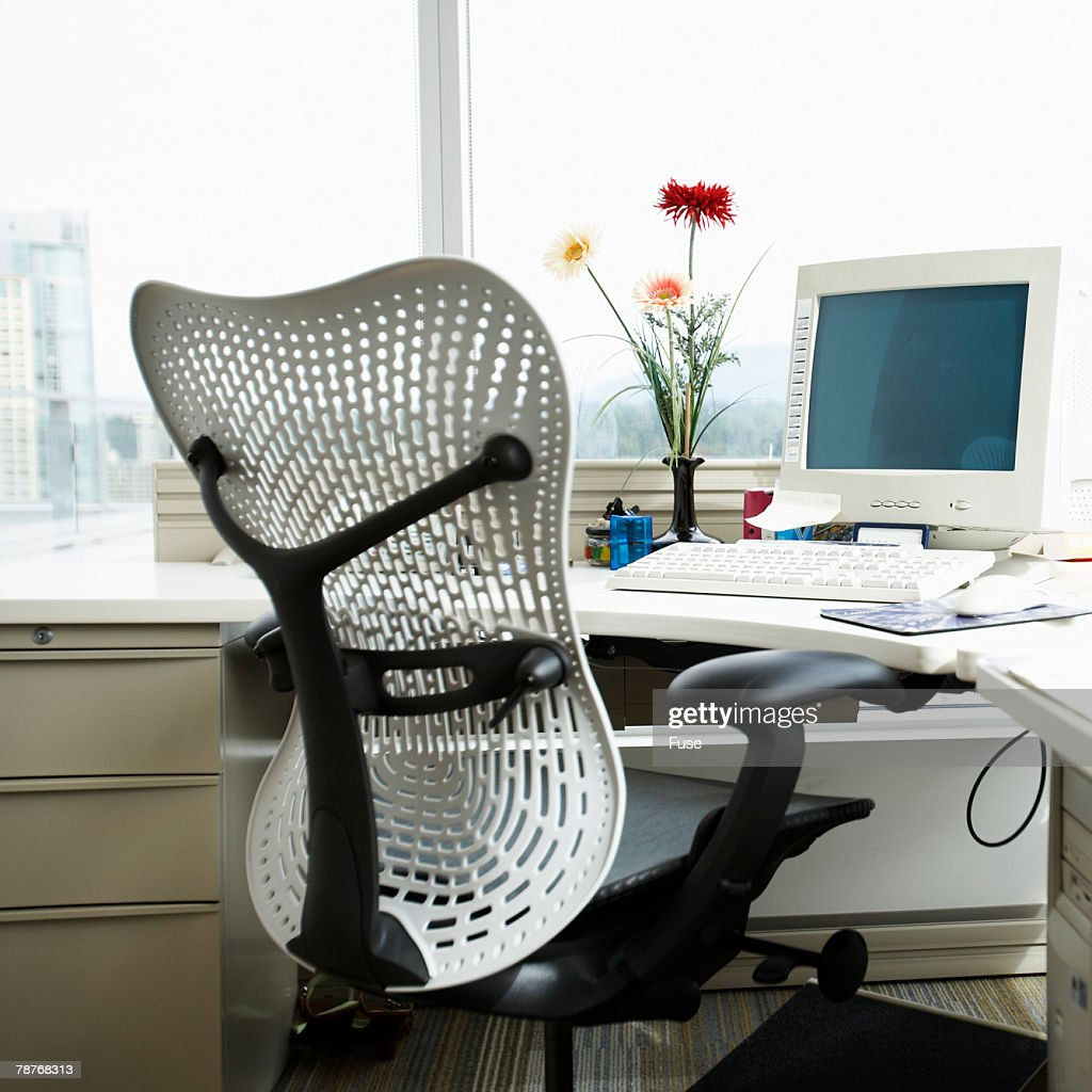 Empty Office Chair and Desk : Stock Photo
