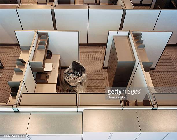 Empty office cubicles, elevated view