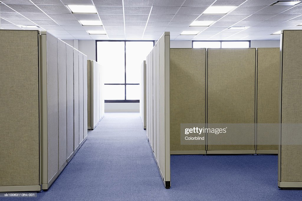 Empty office cubicles : Stock Photo