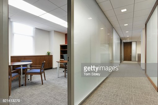 Empty office hallway and small office area stock photo for Small office area