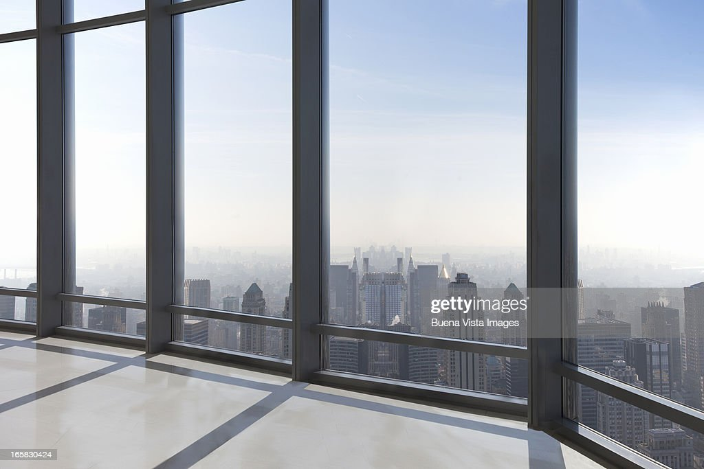 empty office overlooking a city : Stock Photo