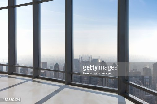 empty office overlooking a city