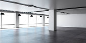 Empty office open space with concrete floor