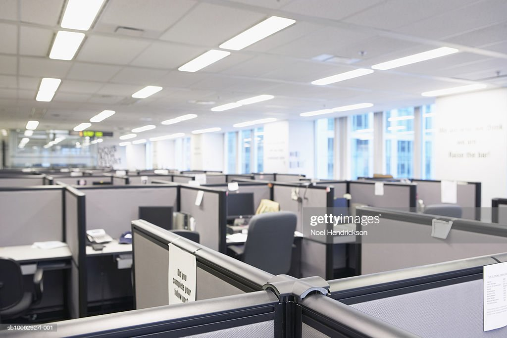 Empty office space with cubicles : Stock Photo