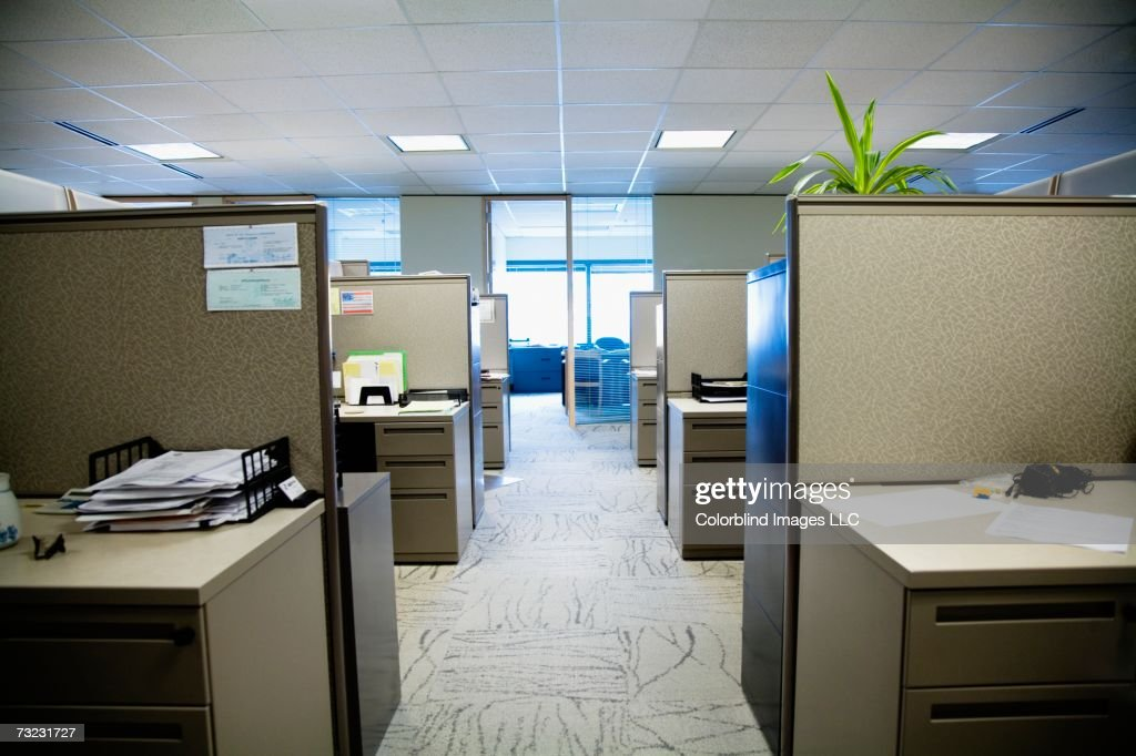 Empty office with cubicles