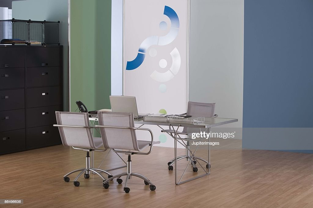 Empty office with table and chairs : Stock Photo