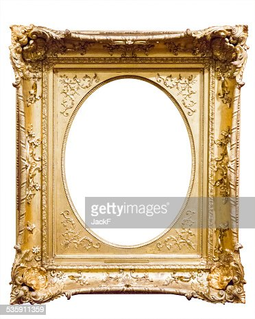 empty old bronze picture frame : Stock Photo
