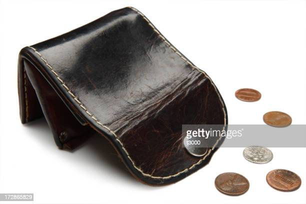 Empty old leather wallet and small change
