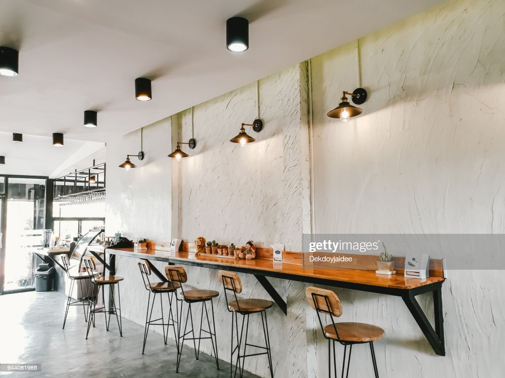 Coffee Shop Interior Design With Chairs And White Walls. : Stock