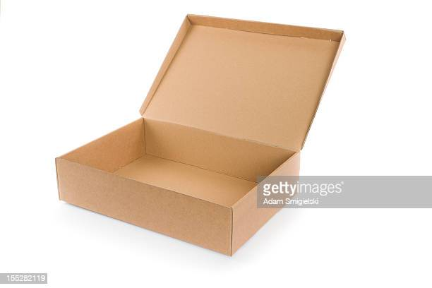empty open cardboard box isolated on white