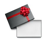 High angle view of an empty gift box isolated on white background with copy space