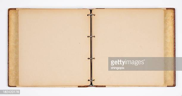 A empty open photo album with insets