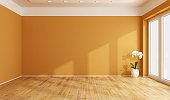 Empty orange room with wooden floor -3D Rendering