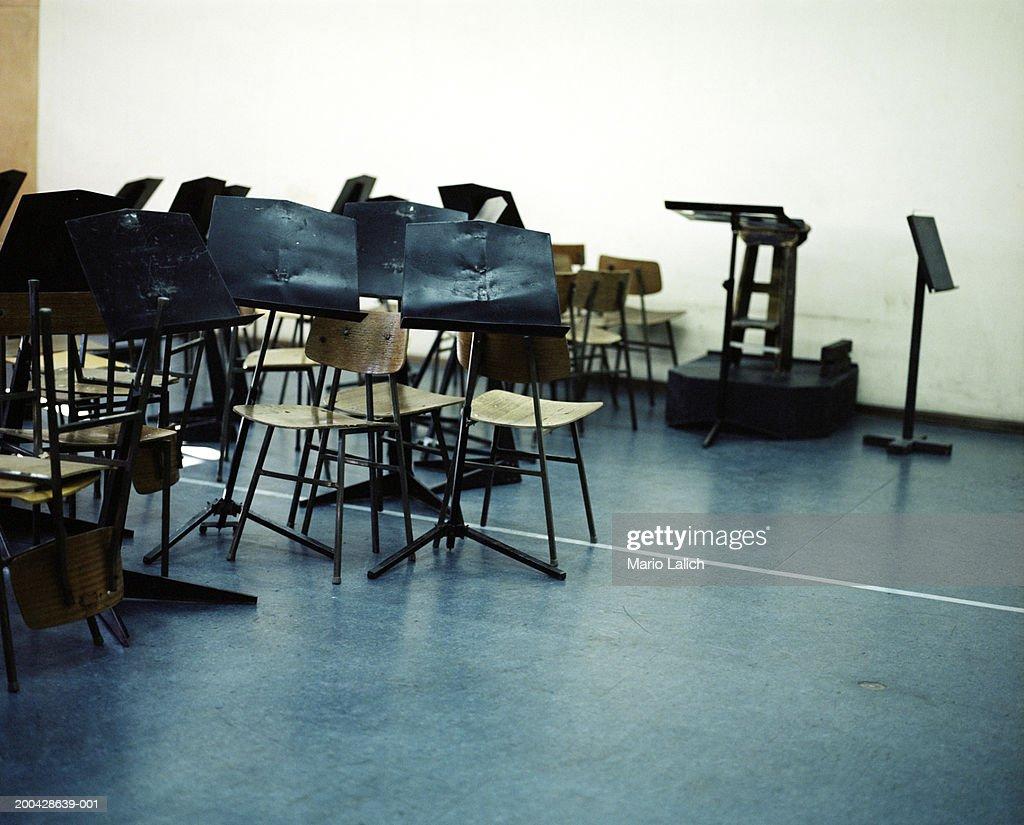 Empty orchestra practice hall