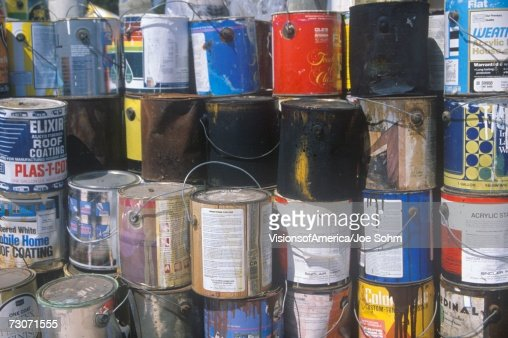 Empty paint cans waiting for disposal in los angeles for How to dispose of empty paint cans