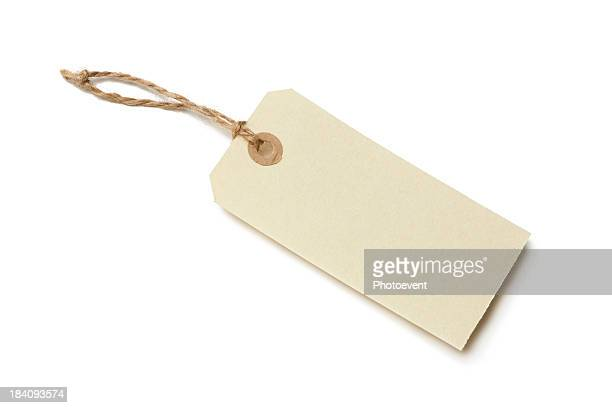 Empty paper price tag on white background
