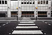 Empty pedestrian crossing in London City