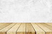 Empty perspective wood and white cement wall background, room, table top, shelf for product display montage background, mock up, vintage style