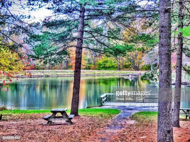 Empty picnic table near lake side