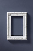 Empty old fashioned picture frame on dark background