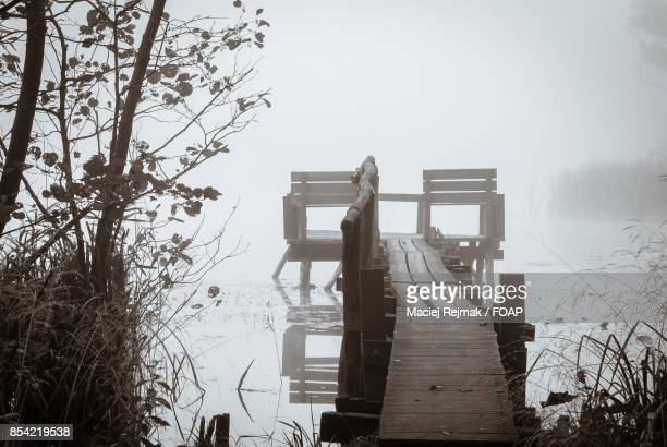 Empty pier over the lake