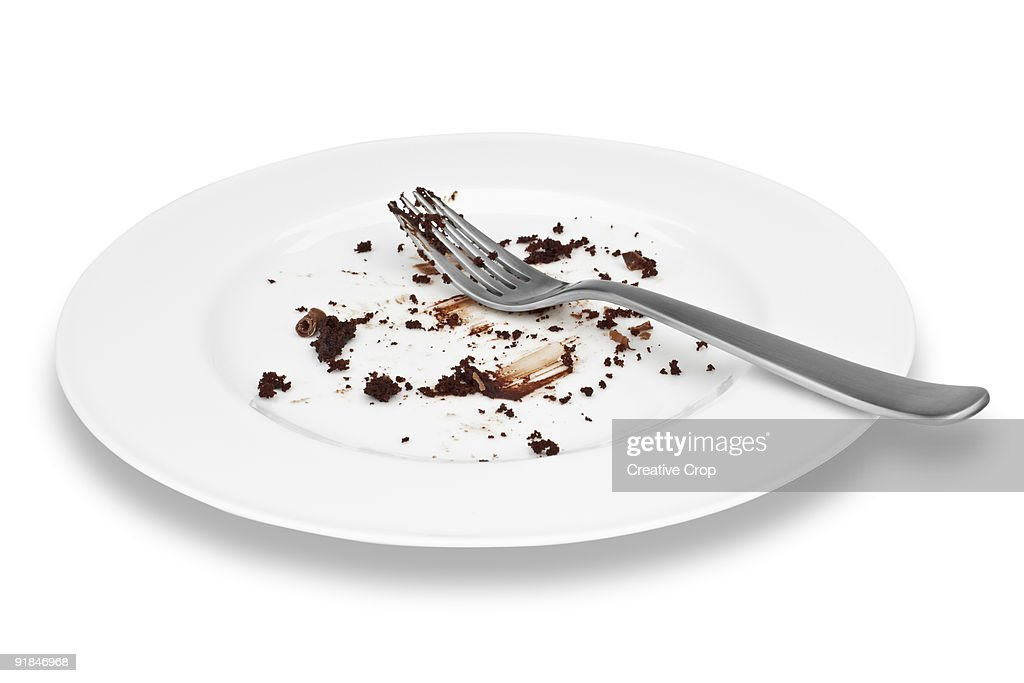 Empty plate of cholcolate cake with fork : Stock Photo