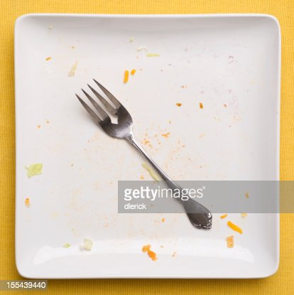 Empty Plate with Fork : Stock Photo