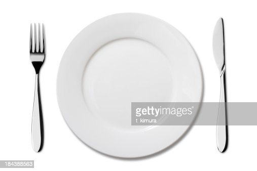 Fork And Knife On Empty White Plate Stock Photo Getty Images