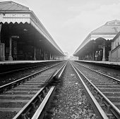 Empty platforms at Waterloo East railway station after all trains going to London Bridge are cancelled due to derailment London 12th August 1958