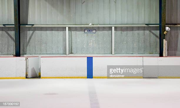 Empty player bench at a hockey arena
