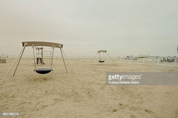 Empty playground on beach