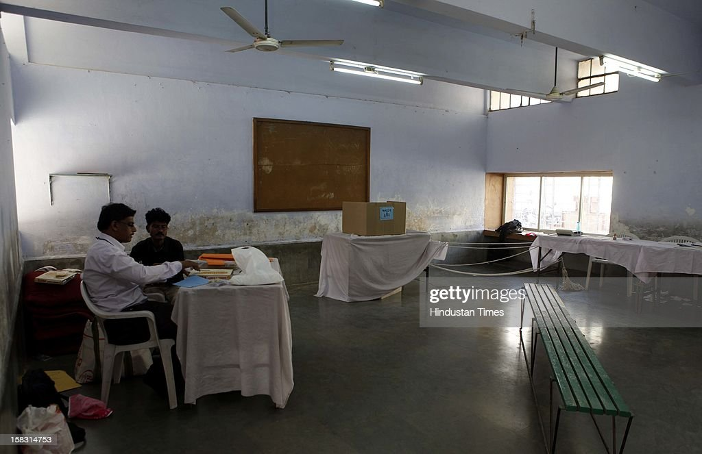 Empty poling booths during the first phase polling of Gujarat assembly election on December 13, 2012 in Surat, India.