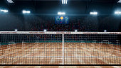 Empty professional volleyball court in lights 3d rendering