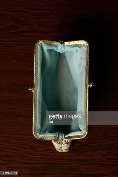 Empty purse, high angle view