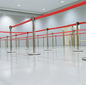 Empty queuing area with barrier system, low angle view