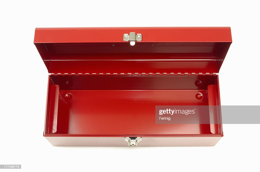 Empty red toolbox : Stockfoto