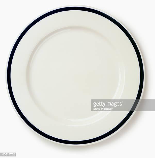 Empty restaurant dinner plate shot from above
