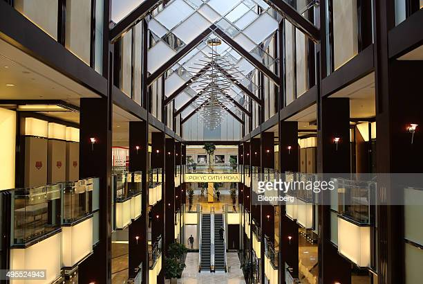 Empty retail floors stand ahead of trading inside the new Vegas shopping mall operated by Crocus Group on its opening day in Moscow Russia on...