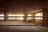 Empty ring boxing arena for training in the gym