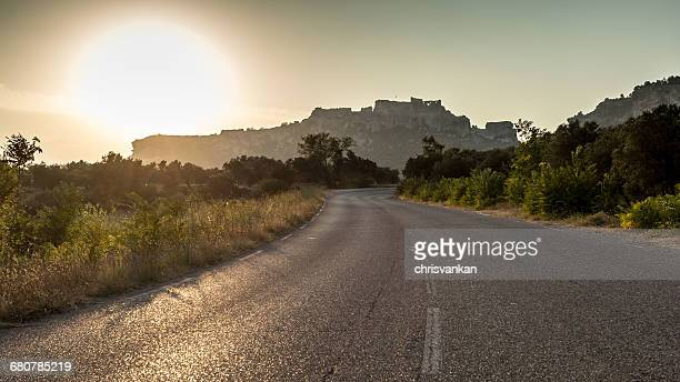 Empty road at sunset, Les Baux de Provence, Cote' d'Azur, France