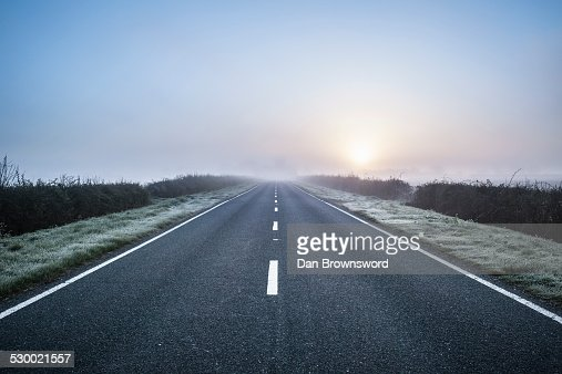 Empty road in rural setting, Northamptonshire, England