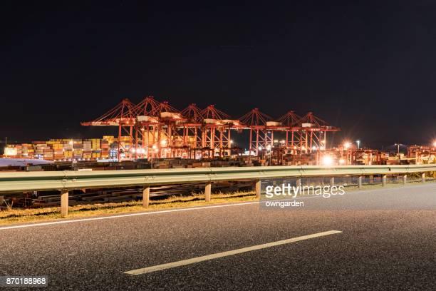 Empty road in Shanghai Yangshan deepwater port