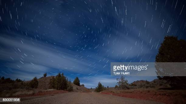 Empty Road Night Sky Star Trails Over Oregon