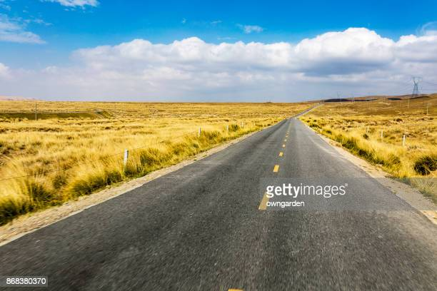 Empty road through the prairie