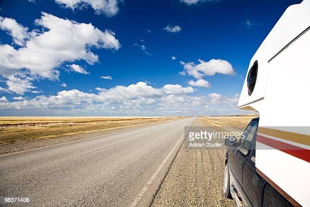 Empty roads under a wide sky
