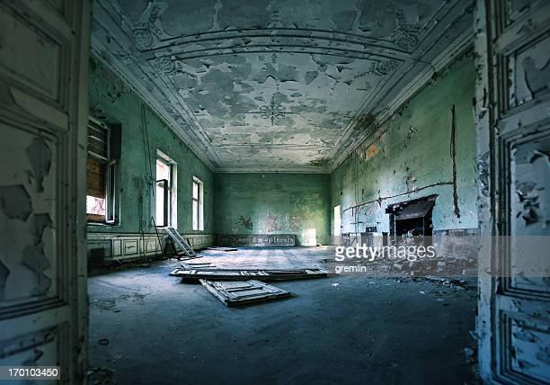 Empty room in abandoned European castle