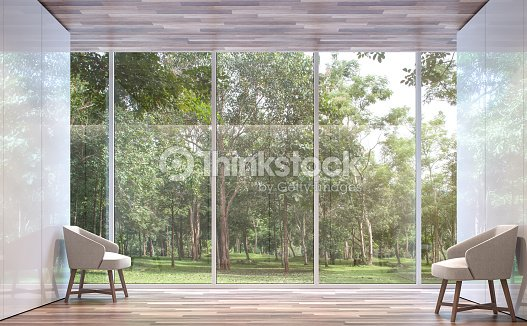 Empty room modern space with nature view 3d rendering image : Stock Photo