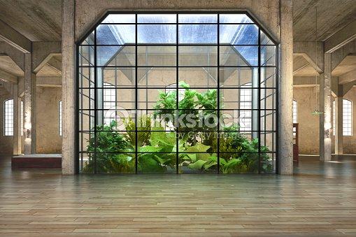 Habitaci n vac a de negocios o de residencia con fondo del for Atrio dentro casa